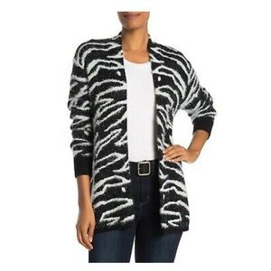 SUSINA Black White Zebra Cardigan Sweater NWT